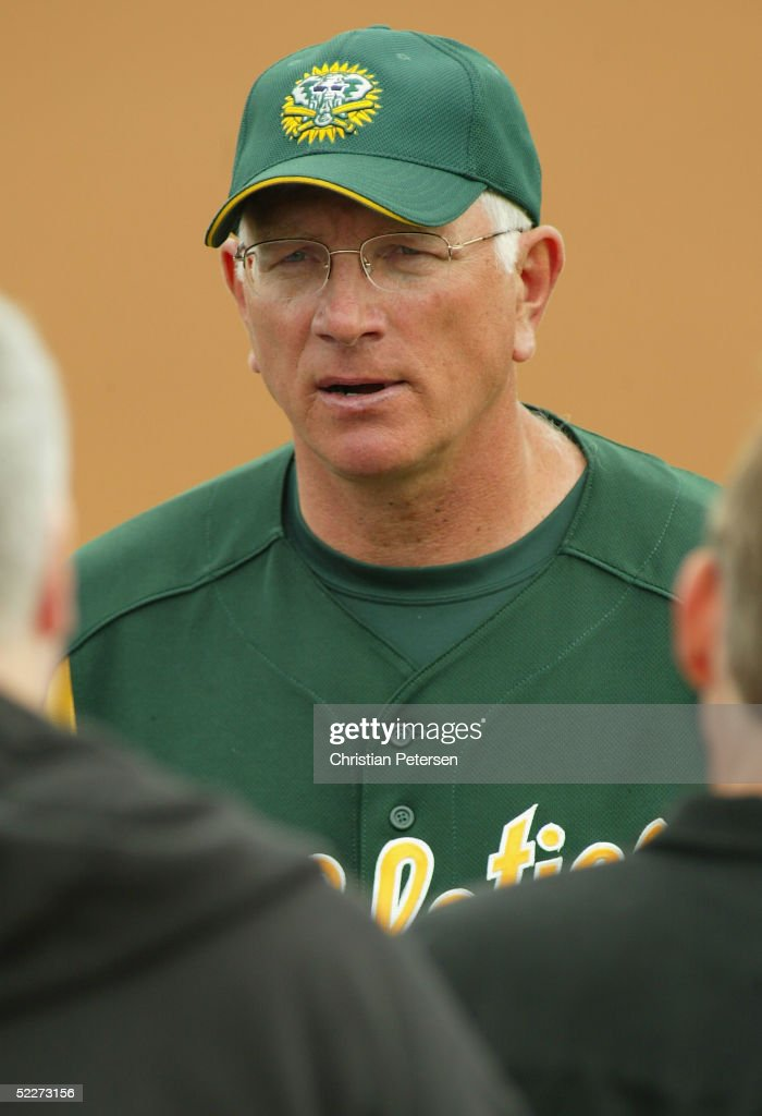 Manager Ken Macha of the Oakland Athletics talks with the media before the MLB spring training game against the Chicago Cubs at Phoenix Municipal Stadium on March 3, 2005 in Phoenix, Arizona.