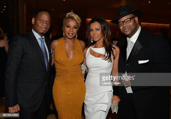 Manager Kendu Isaacs recording artist Mary J Blige Lisa Padilla and producer/songwriter Jimmy Jam attend the PreGRAMMY Gala and Salute to Industry...