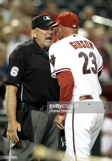Manager Kirk Gibson of the Arizona Diamondbacks argues with home plate home plate umpire Bob Davidson after being ejected from the Major League...
