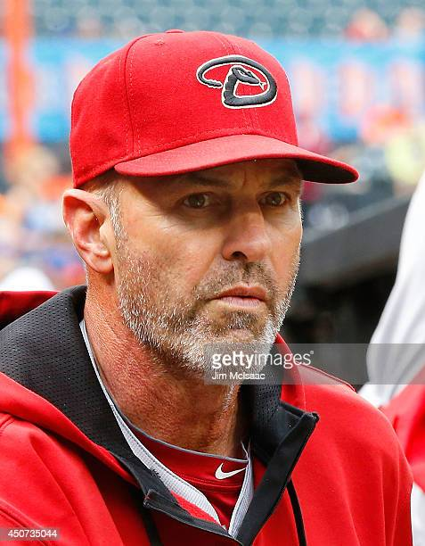 Manager Kirk Gibson of the Arizona Diamondbacks looks on before a game against the New York Mets at Citi Field on May 24 2014 in the Flushing...