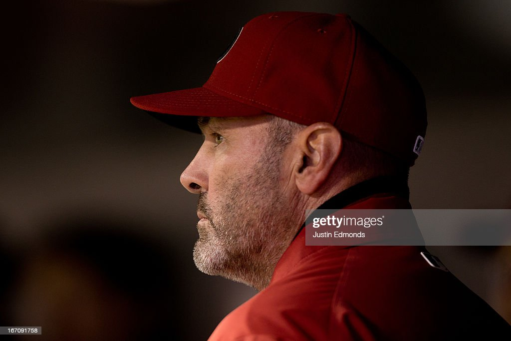 Manager <a gi-track='captionPersonalityLinkClicked' href=/galleries/search?phrase=Kirk+Gibson&family=editorial&specificpeople=207042 ng-click='$event.stopPropagation()'>Kirk Gibson</a> of the Arizona Diamondbacks looks on during a game against the Colorado Rockies at Coors Field on April 19, 2013 in Denver, Colorado. The Rockies defeated the Diamondbacks 3-1.