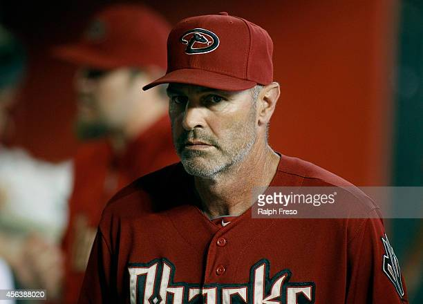 Manager Kirk Gibson of the Arizona Diamondbacks looks on during the third inning of a MLB game against the San Diego Padres at Chase Field on...