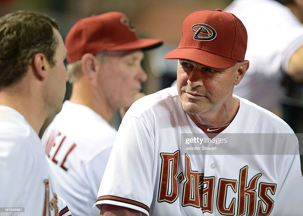 Manager <a gi-track='captionPersonalityLinkClicked' href=/galleries/search?phrase=Kirk+Gibson&family=editorial&specificpeople=207042 ng-click='$event.stopPropagation()'>Kirk Gibson</a> of the Arizona Diamondbacks talks with <a gi-track='captionPersonalityLinkClicked' href=/galleries/search?phrase=Paul+Goldschmidt&family=editorial&specificpeople=7511120 ng-click='$event.stopPropagation()'>Paul Goldschmidt</a> #44 in the dugout during the game against the Colorado Rockies at Chase Field on April 26, 2013 in Phoenix, Arizona. The Rockies defeated Diamondbacks 6-3.