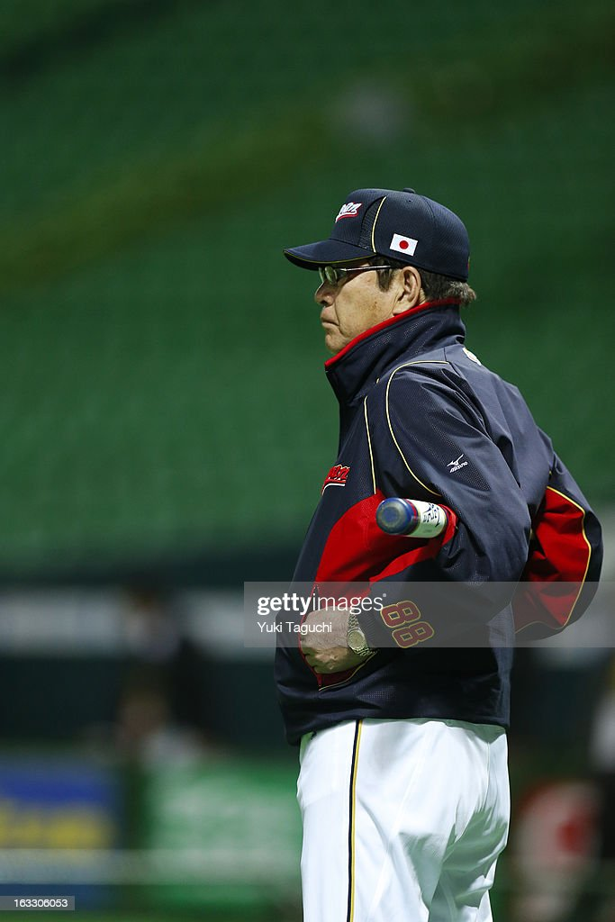Manager Koji Yamamoto #88 of Team Japan looks on during the World Baseball Classic workout day at the Yahoo Dome on February 27, 2013 in Fukuoka, Japan.