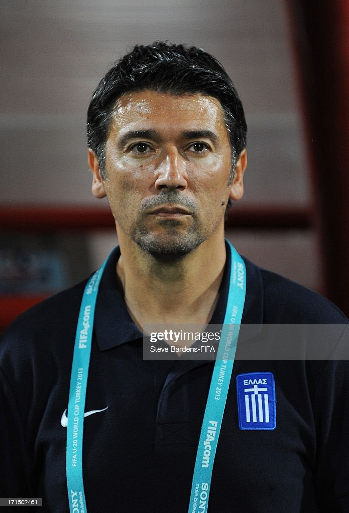 Manager Kostas Tsanas of Greece looks on before the FIFA U20 World Cup Group D match between Mali and Greece at Kamil Ocak Stadium on June 25, 2013 in Gaziantep, Turkey.