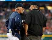 Manager Lim Leyland of the Detroit Tigers argues with first base umpire Bob Davidson after he was ejected from the game in the fourth inning while...