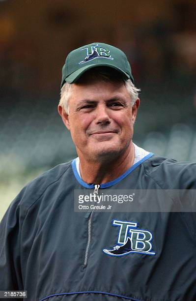 Manager Lou Piniella of the Tampa Bay Devil Rays smiles during batting practice prior to game against his former team the Seattle Mariners on July 11...