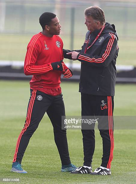 Manager Louis van Gaal and Anthony Martial of Manchester United in action during a first team training session ahead of their UEFA Champions League...
