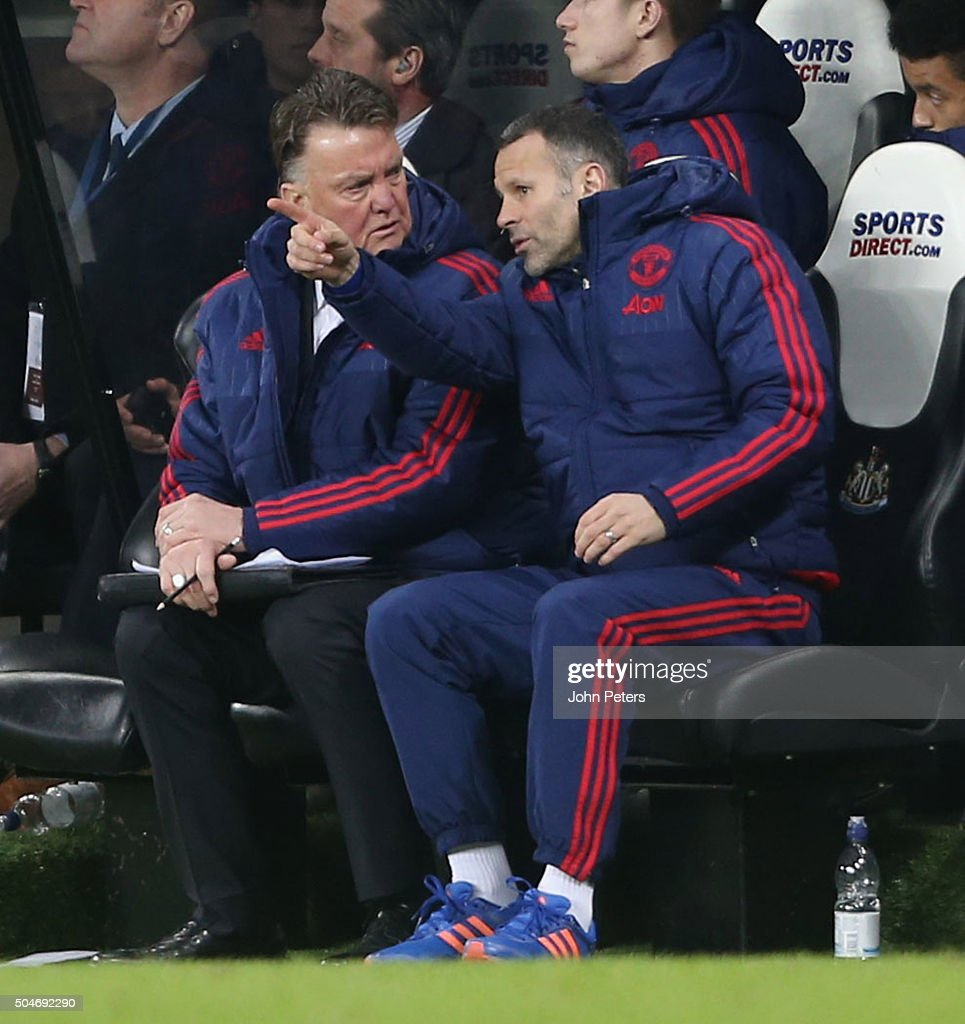 Manager Louis van Gaal and Assistant Manager Ryan Giggs of Manchester United watch from the bench during the Barclays Premier League match between Newcastle United and Manchester United at St James' Park on 12 January 2016 in Newcastle Upon Tyne, England.