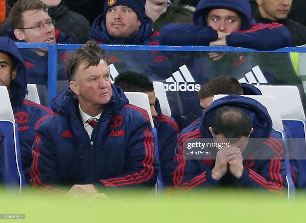 Manager Louis van Gaal and Assistant Manager Ryan Giggs of Manchester United react to Diego Costa of Chelsea scoring their first goal during the Barclays Premier League match between Chelsea and Manchester United at Stamford Bridge on February 7 2016 in London, England.