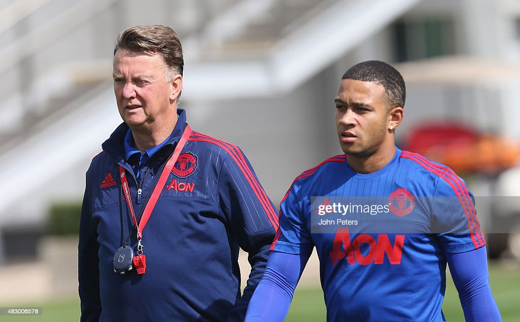 Manager Louis van Gaal and Memphis Depay of Manchester United in action during a first team training session at Aon Training Complex on August 5 2015...