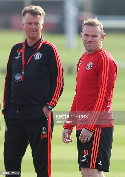 Manager Louis van Gaal and Wayne Rooney of Manchester United in action during a first team training session at Aon Training Complex on September 29...