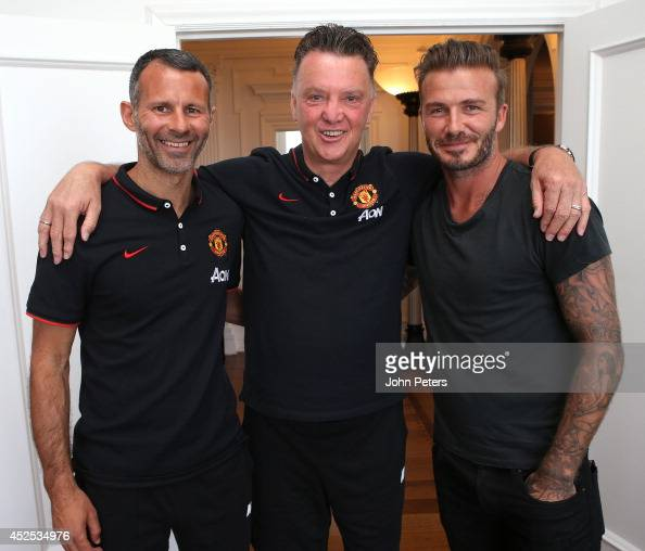 Manager Louis van Gaal of Manchester United and Assistant Manager Ryan Giggs meet David Beckham at the team hotel as part of their preseason tour of...
