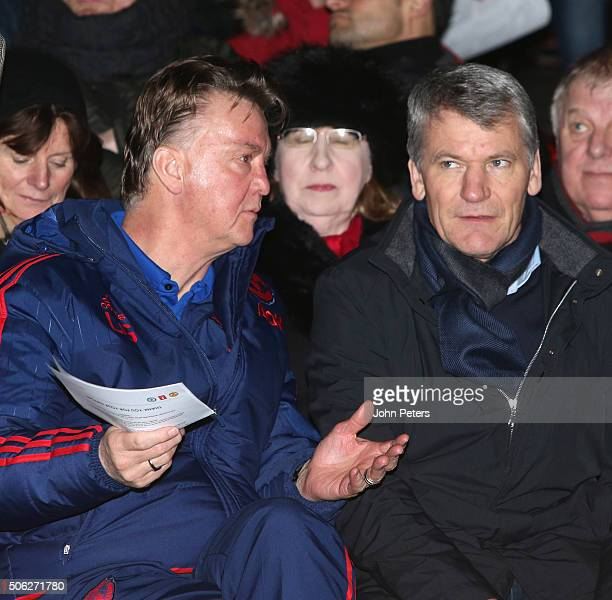 Manager Louis van Gaal of Manchester United and former Chief Executive David Gill watch from the stand during the FA Youth Cup fourth round match...