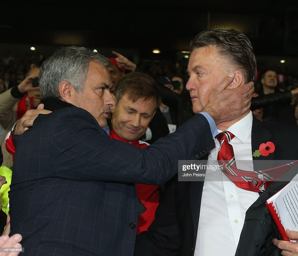 Manager Louis van Gaal of Manchester United and Manager Jose Mourinho of Chelsea embrace after the Barclays Premier League match between Manchester United and Chelsea at Old Trafford on October 26, 2014 in Manchester, England.