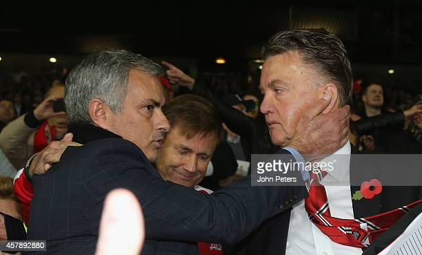 Manager Louis van Gaal of Manchester United and Manager Jose Mourinho of Chelsea embrace after the Barclays Premier League match between Manchester...