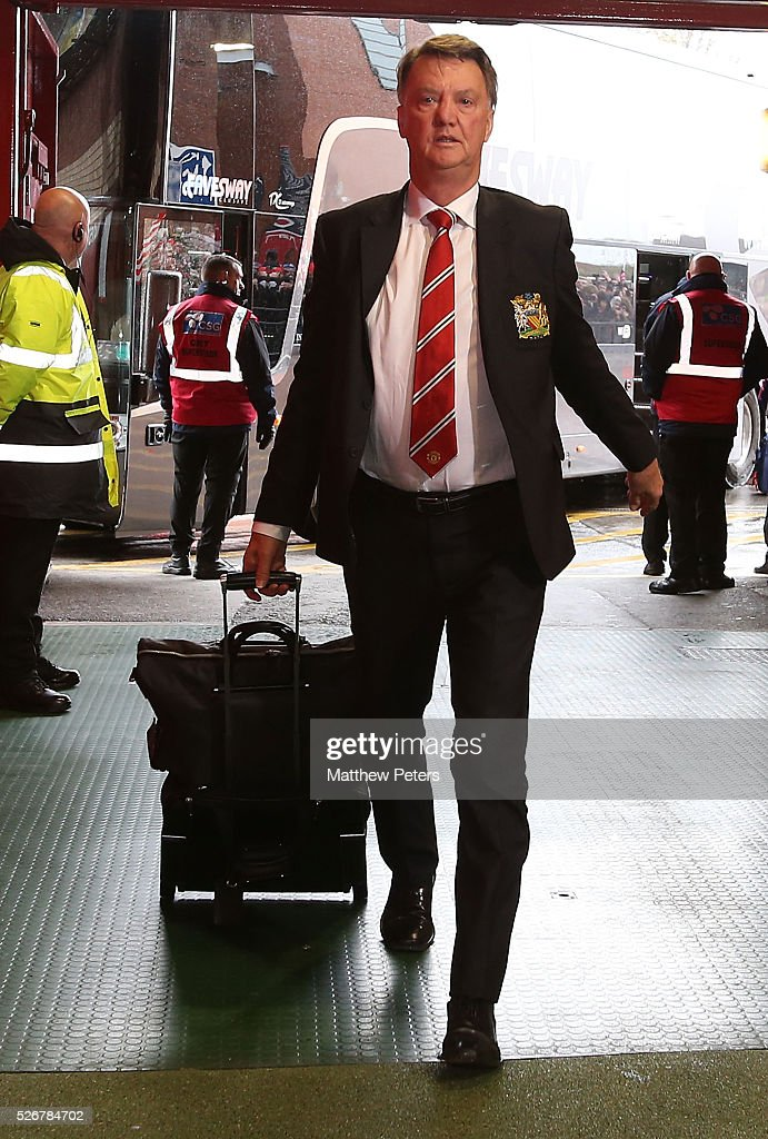 Manager Louis van Gaal of Manchester United arrives at Old Trafford ahead of the Barclays Premier League match between Manchester United and Leicester City at Old Trafford on May 1, 2016 in Manchester, England.
