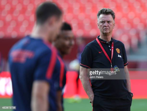 Manager Louis van Gaal of Manchester United conducts an open training session as part of their preseason tour of the United States at FedExField on...