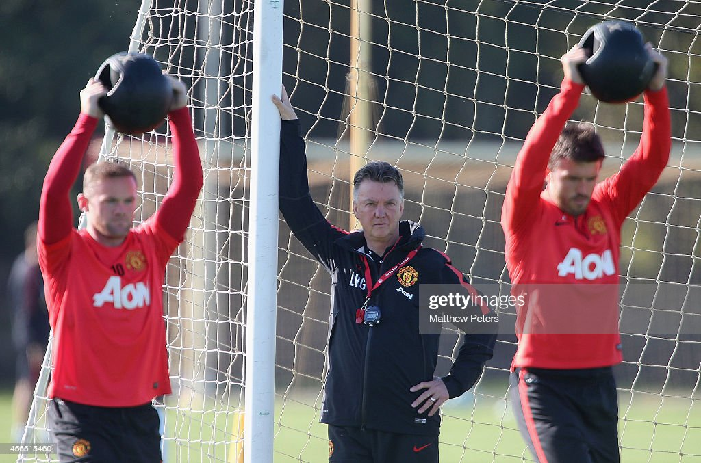 Manager Louis van Gaal of Manchester United in action during a first team training session at Aon Training Complex on October 2 2014 in Manchester...