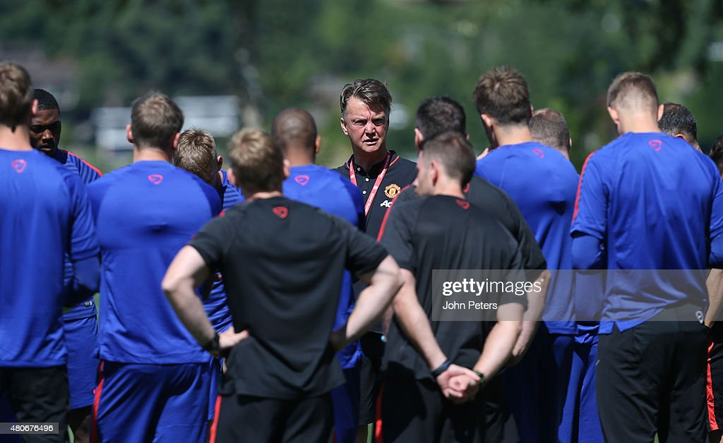 Manager Louis van Gaal of Manchester United in action during a first team training session as part of their preseason tour of the USA at VMAC on July...
