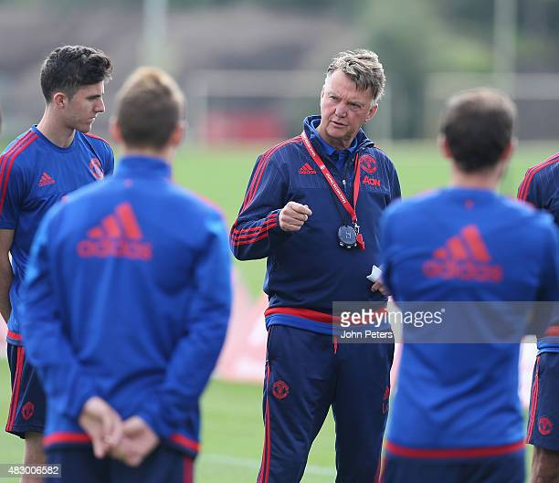 Manager Louis van Gaal of Manchester United in action during a first team training session at Aon Training Complex on August 5 2015 in Manchester...