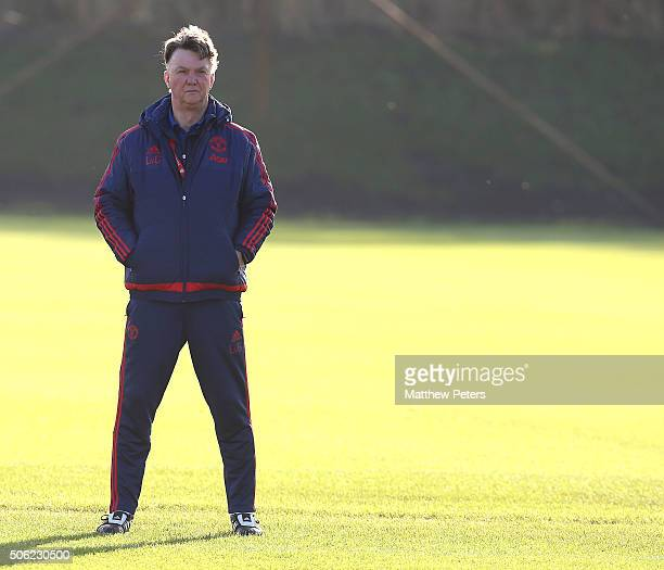 Manager Louis van Gaal of Manchester United in action during a first team training session at Aon Training Complex on January 22 2016 in Manchester...
