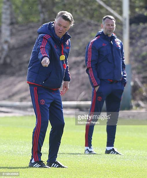 Manager Louis van Gaal of Manchester United in action during a first team training session at Aon Training Complex on April 8 2016 in Manchester...