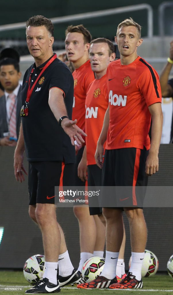 Manager Louis van Gaal of Manchester United in action during an open training session as part of their pre-season tour to the United States at Rose Bowl on July 22, 2014 in Pasadena, California.