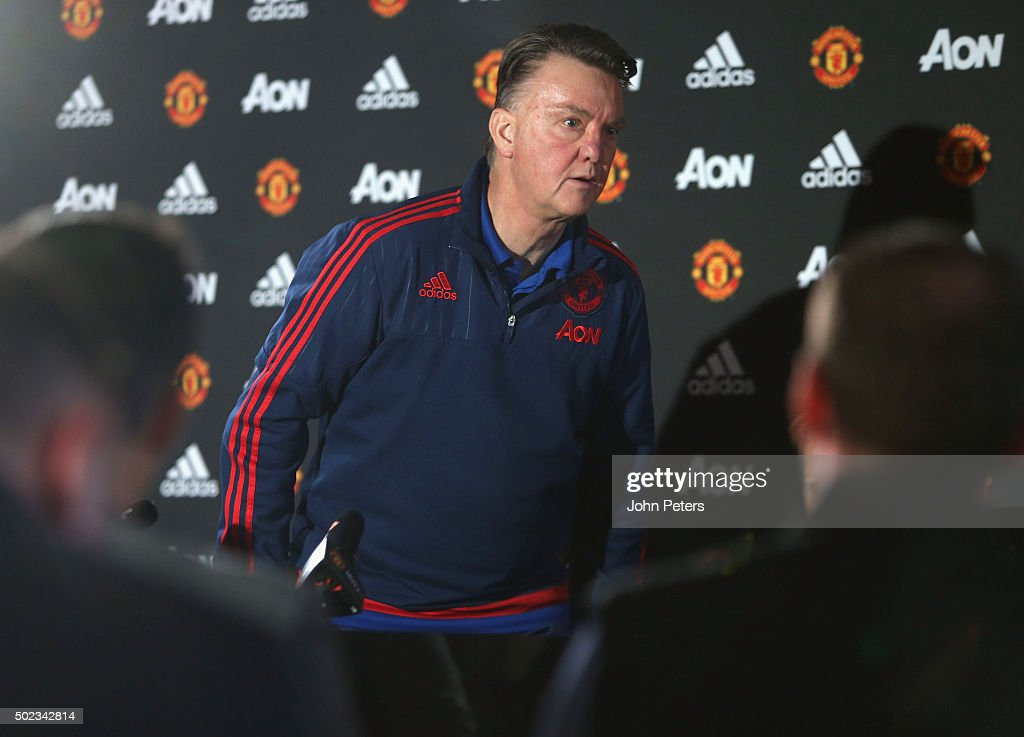 Manager Louis van Gaal of Manchester United leaves after a press conference at Aon Training Complex on December 23, 2015 in Manchester, England.