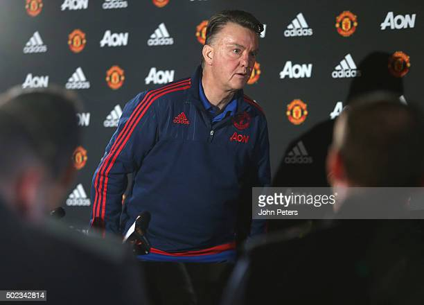 Manager Louis van Gaal of Manchester United leaves after a press conference at Aon Training Complex on December 23 2015 in Manchester England