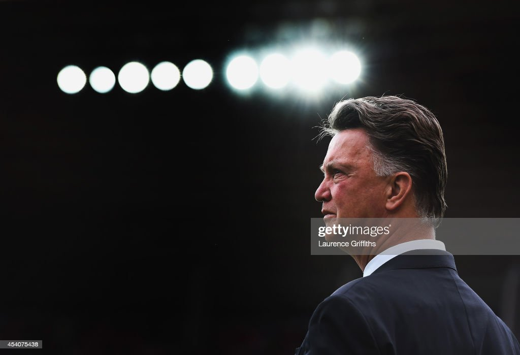 Manager Louis van Gaal of Manchester United looks on prior to the Barclays Premier League match between Sunderland and Manchester United at Stadium of Light on August 24, 2014 in Sunderland, England.