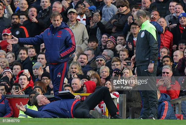 Manager Louis van Gaal of Manchester United remonstrates with the fourth official Mike Dean during the Barclays Premier League match between...