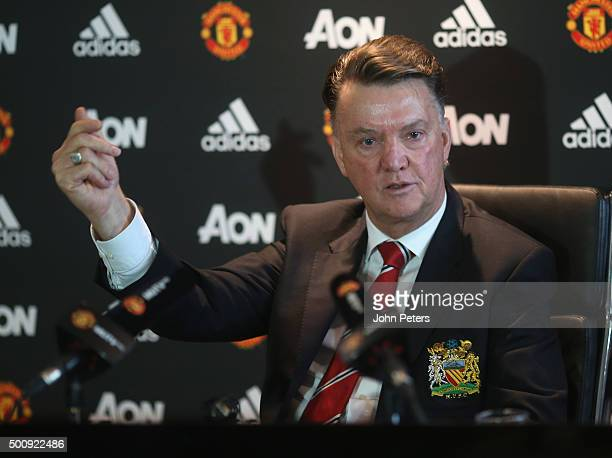 Manager Louis van Gaal of Manchester United speaks during a press conference at Aon Training Complex on December 11 2015 in Manchester England