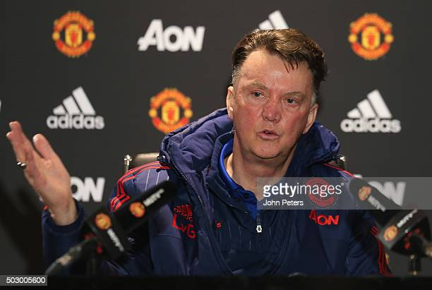 Manager Louis van Gaal of Manchester United speaks during a press conference at Aon Training Complex on December 31 2015 in Manchester England