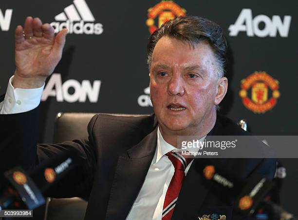 Manager Louis van Gaal of Manchester United speaks during a press conference at Aon Training Complex on January 8 2016 in Manchester England