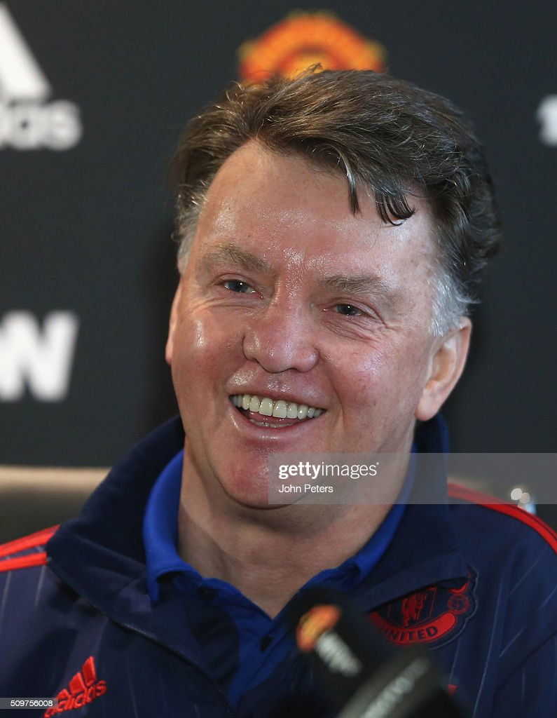 Manager Louis van Gaal of Manchester United speaks during a press conference at Aon Training Complex on February 12, 2016 in Manchester, England.