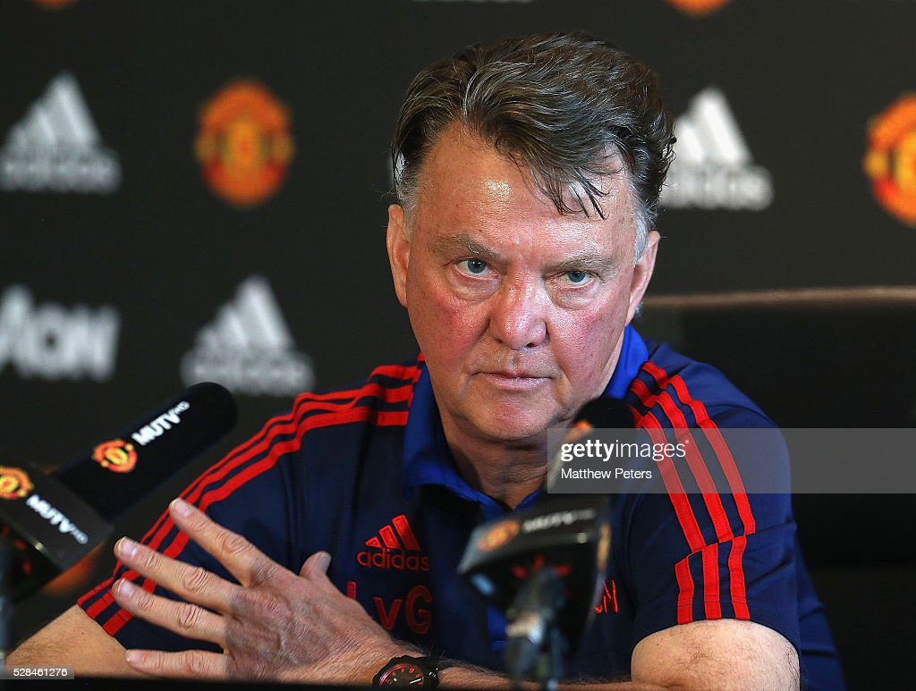 Manager Louis van Gaal of Manchester United speaks during a press conference at Aon Training Complex on May 5, 2016 in Manchester, England.