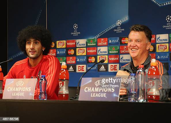 Manager Louis van Gaal of Manchester United speaks during a press conference ahead of their UEFA Champions League playoff second leg match against...
