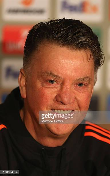 Manager Louis van Gaal of Manchester United speaks during a press conference ahead of their UEFA Europa League match against FC Midtjylland at MCH...