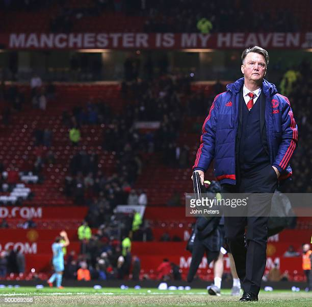 Manager Louis van Gaal of Manchester United walks off after the Barclays Premier League match between Manchester United and West Ham United at Old...