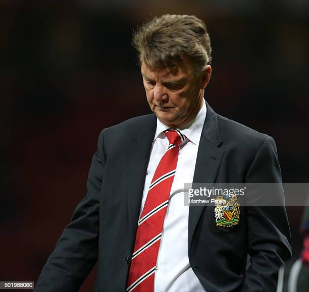 Manager Louis van Gaal of Manchester United walks off after the Barclays Premier League match between Manchester United and Norwich City at Old...