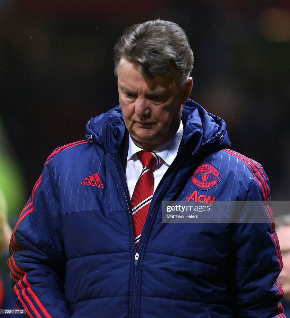 Manager Louis van Gaal of Manchester United walks off after the Barclays Premier League match between Manchester United and Southampton at Old Trafford on January 23, 2016 in Manchester, England.