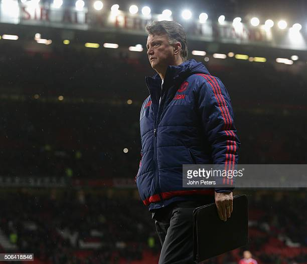 Manager Louis van Gaal of Manchester United walks off after the Barclays Premier League match between Manchester United and Jose Fonte at Old...