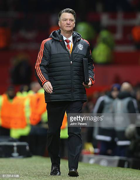 Manager Louis van Gaal of Manchester United walks off after the UEFA Europa League match between Manchester United and FC Midtjylland at Old Trafford...