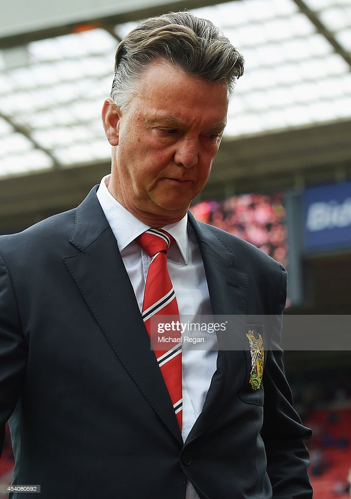 Manager Louis van Gaal of Manchester United walks to his seat prior to the Barclays Premier League match between Sunderland and Manchester United at Stadium of Light on August 24, 2014 in Sunderland, England.