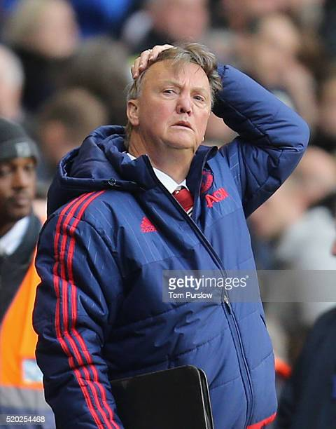 Manager Louis van Gaal of Manchester United watches from the bench during the Barclays Premier League match between Tottenham Hotspur and Manchester...