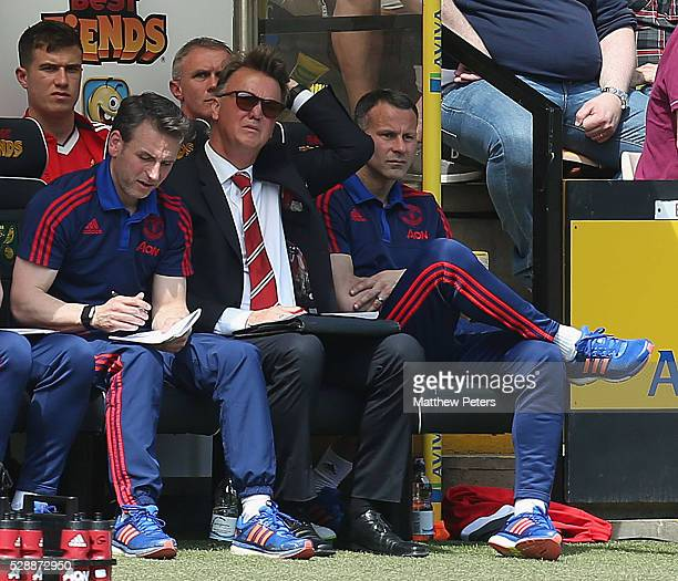 Manager Louis van Gaal of Manchester United watches from the bench during the Barclays Premier League match between Norwich City and Manchester...