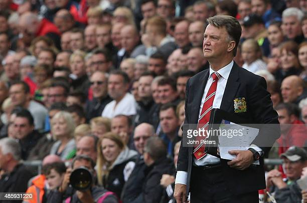 Manager Louis van Gaal of Manchester United watches from the touchline during the Barclays Premier League match between Swansea City and Manchester...