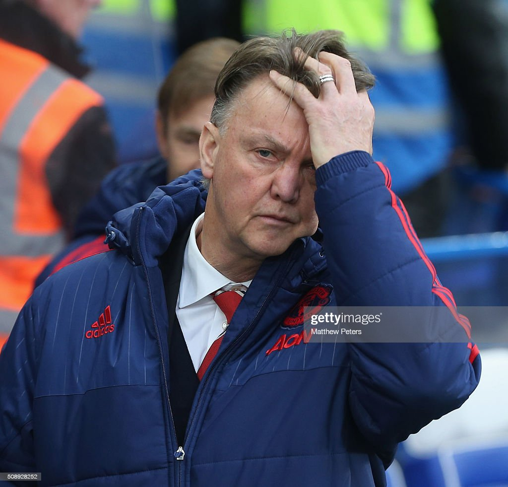 Manager Louis van Gaal walks off at halftime during the Barclays Premier League match between Chelsea and Manchester United at Stamford Bridge on February 7 2016 in London, England.