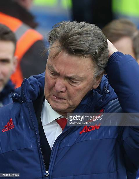 Manager Louis van Gaal walks off at halftime during the Barclays Premier League match between Chelsea and Manchester United at Stamford Bridge on...